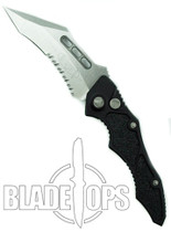 Microtech Vector Automatic Knife, Stonewash Part Serrated Edge, 132-11