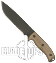 Ontario Rat 7 Fixed Blade Knife, Serrated Edge