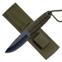 Survivor Knives HK-106C Army Green Paracord Fixed Blade Knife & Fire Starter, Black Blade