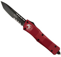 Microtech Red Troodon Tanto Edge OTF Auto Knife, Black Combo Blade
