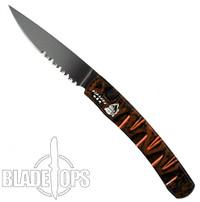 Piranha Orange Virus Auto Knife, CPM-S30V Black Combo Blade