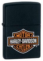 Harley Davidson Black Matte with Bar and Shield Logo Zippo, 218HD.H252