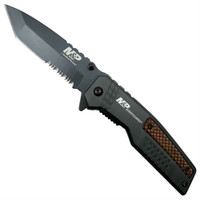 Smith & Wesson M&P Bodyguard Tanto Folder Knife, Wood Inlay, Black Combo Blade