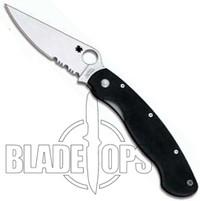 Spyderco Military Manual Folder Knife, Black G10, Combo Edge, C36GPSE