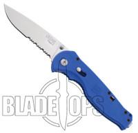 SOG Blue FLASH II Spring Assisted Knife, Satin Part Serrated Blade, BFSA98