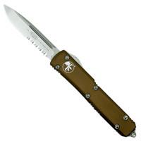 Microtech 121-11TA Tan Contoured Ultratech S/E OTF Auto Knife, Stonewash Combo Blade