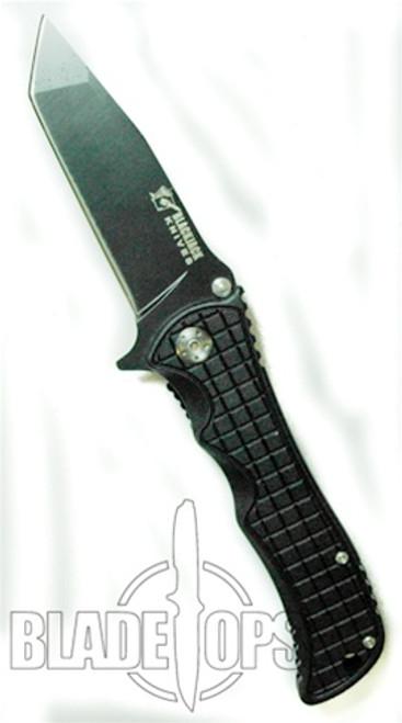 Blackjack Model 1 Tactical Tanto Point Spring Assist Knife, Black, PLN, BJ035
