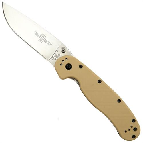Ontario 8848DT Desert Tan RAT Model 1 Folder Knife, AUS-8 Satin Blade