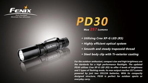 Fenix PD30 R5 Black LED Flashlight, 257 Lumens