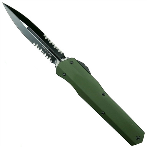 Microtech 242S-2OD OD Green Smooth Cypher D/E OTF Auto Knife, Black Combo Blade