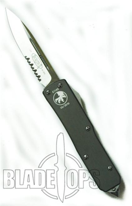 Microtech UTX-85 OTF Knife, Satin, Part Serrated, Grey Handle, MT125-5