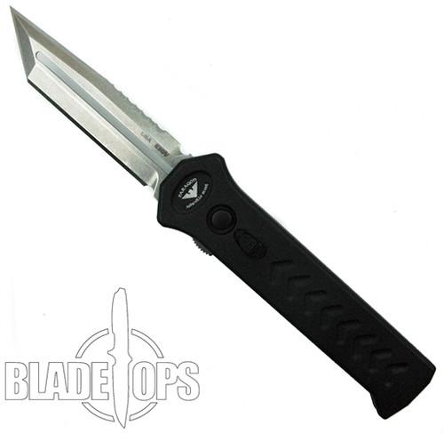 Paragon Black PARA-XD OTF Auto Knife, Stonewash Tanto Combo Blade