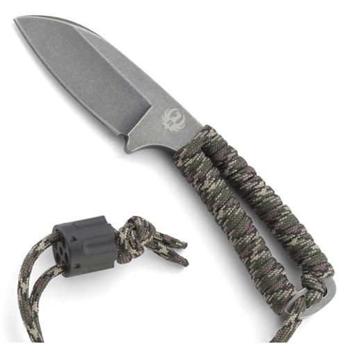 Ruger Cordite Compact Fixed Blade Survival Knife, Black Stonewash Plain Blade