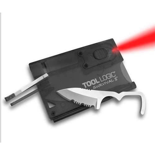 SOG Survival Card with Firestarter, Red LED Light, Whistle