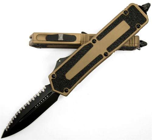 Microtech Scarab OTF Knife Tan D/E (FULL SER), Tritium Button 110-13
