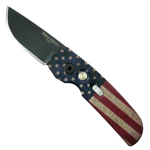 Pro-Tech Limited 2241 Calmigo USA Flag Cali-Legal Auto Knife, 154CM Black Blade