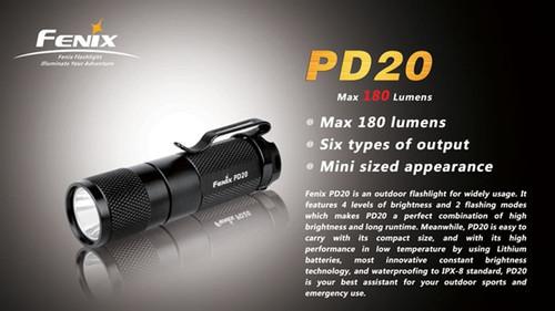 Fenix PD20 R5 Black LED Flashlight, 180 Lumens