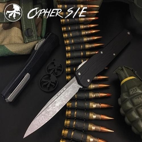 Microtech 241-10AP Cypher S/E OTF Auto Knife, Apocalyptic Stonewash Blade