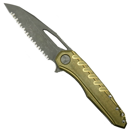 Microtech 196-12APBR Sigil MK6 Brass/Titanium Flipper Knife, Full Serrated Apocalyptic Stonewash Blade