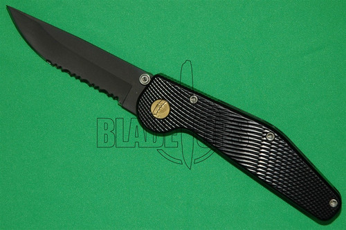 GT Knives Automatic Knife, Police, Drop Point Part Serrated, Titanium Nitride