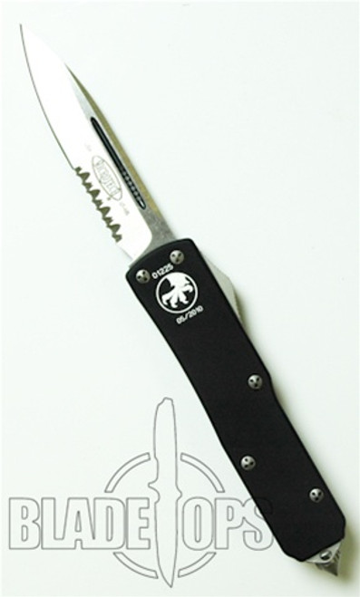 Microtech UTX-85 OTF Double Action Knife, Stonewash, Part Serrated, MT125-11