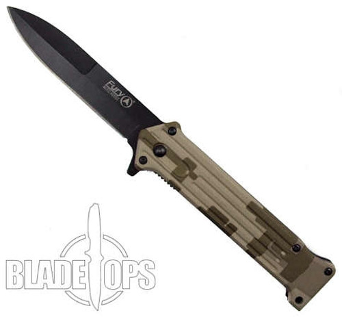 Fury Camo Zapper Spring Assisted Knife, Black  Blade