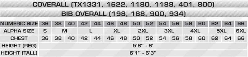 Chest-40 Regular Big Bill TX1331US7-KAK-40R 7 oz Ultrasoft Econo Coverall Khaki