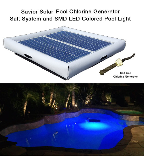 Savior Salt System Pool Chlorine Generator and SMD LED RGB Light 60-watt Solar Powered 25000 Gallon