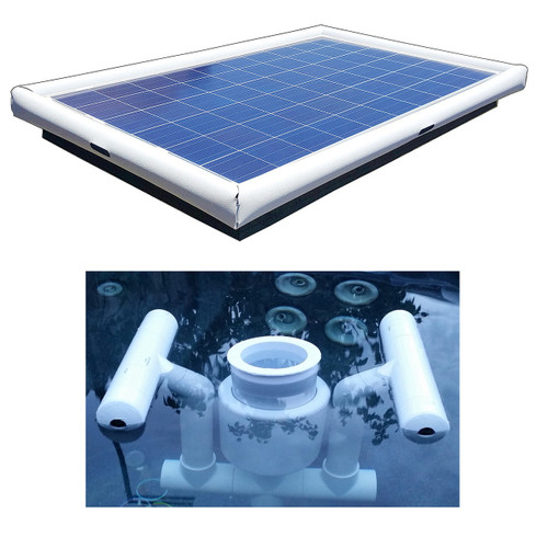 Savior Surface Pond Skimmer Floating Solar Pond Cleaner 120-watts Solar Powered