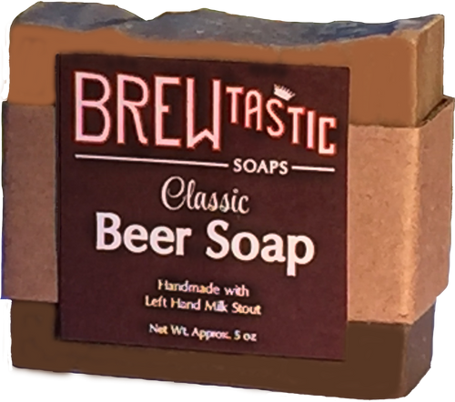 Our original beer soap is universally enjoyed by both men and women. Creatively designed to mimic a pint of your favorite brew, this bar has a unique masculine scent of fresh leather and a hint of smoked pecans.