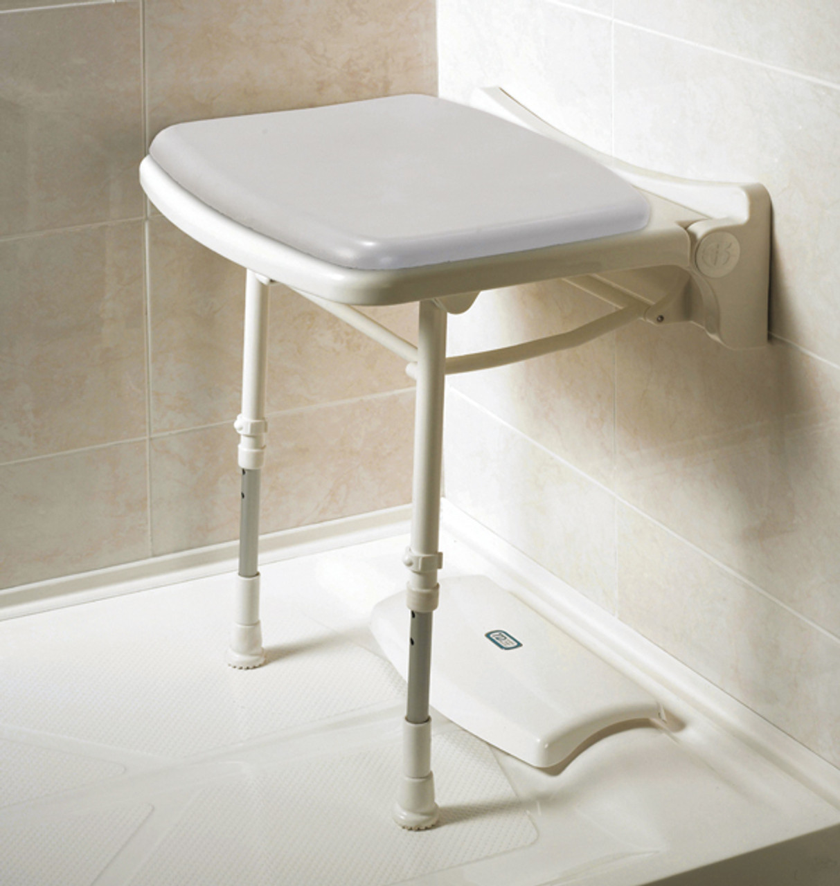 ... Padded Fold Up Shower Seat Gray Pad AKW-02000P & Wall Mounted Compact Shower Seat - CareProdx