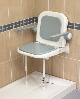 Deluxe Fold Up Shower Seat With Arms ... & Wall Mount Shower Seat With Arms - CareProdx
