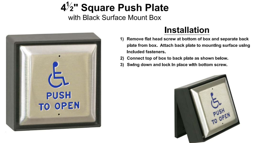 Square Handicap Push Plate 4-1  2 U0026quot  Direct Wire