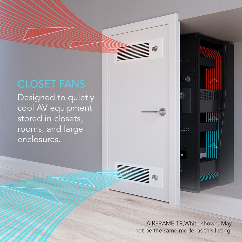 AV Equipment Room and Closet Cooling Fan & AIRFRAME T7 White AV Equipment Closet and Room Fan System 17 ...