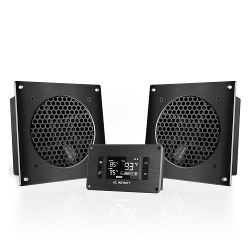 AIRPLATE T8, Home Theater and AV Quiet Cabinet Cooling Dual-Fan System, 6 Inch
