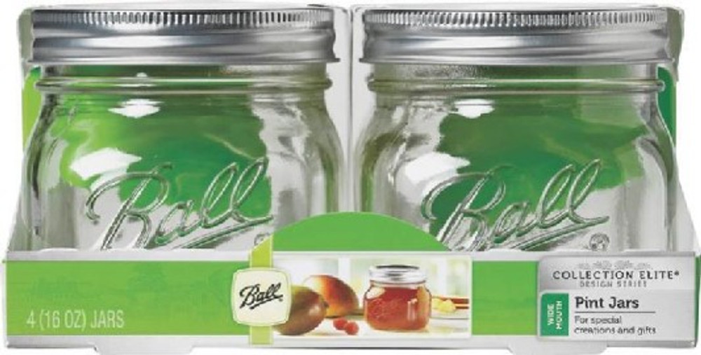 Ball, Canning Jar, 16 Oz, Wide Mouth, 4 Pack