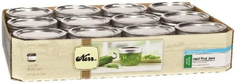 Ball, Canning Jar, 1/2 Pint, Wide Mouth, 12 Pack