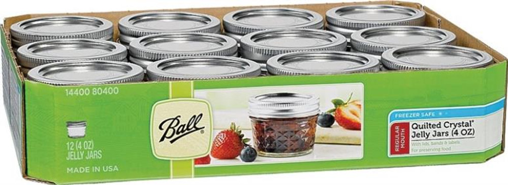 Ball, Jelly Jar 4oz Quilted Glass 12pk