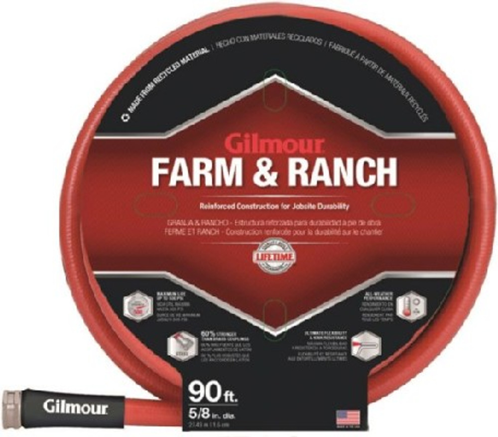 """Gilmour, Farm & Ranch Water Hose, 5/8"""" x 90', Rubber, Red"""