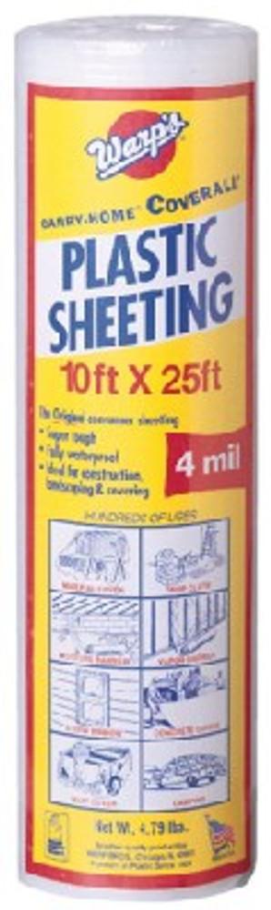 Plastic Sheeting, 4 Mil, 10' x 25', Clear