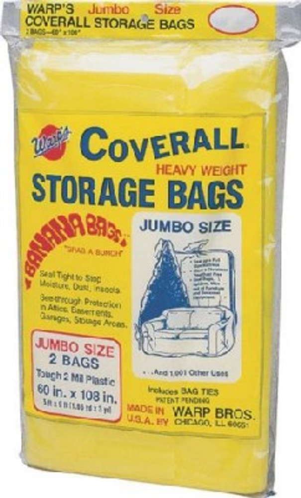 """Storage Bags, 2 Mil, 60"""" x 108"""", Clear, Plastic,2 Pack"""