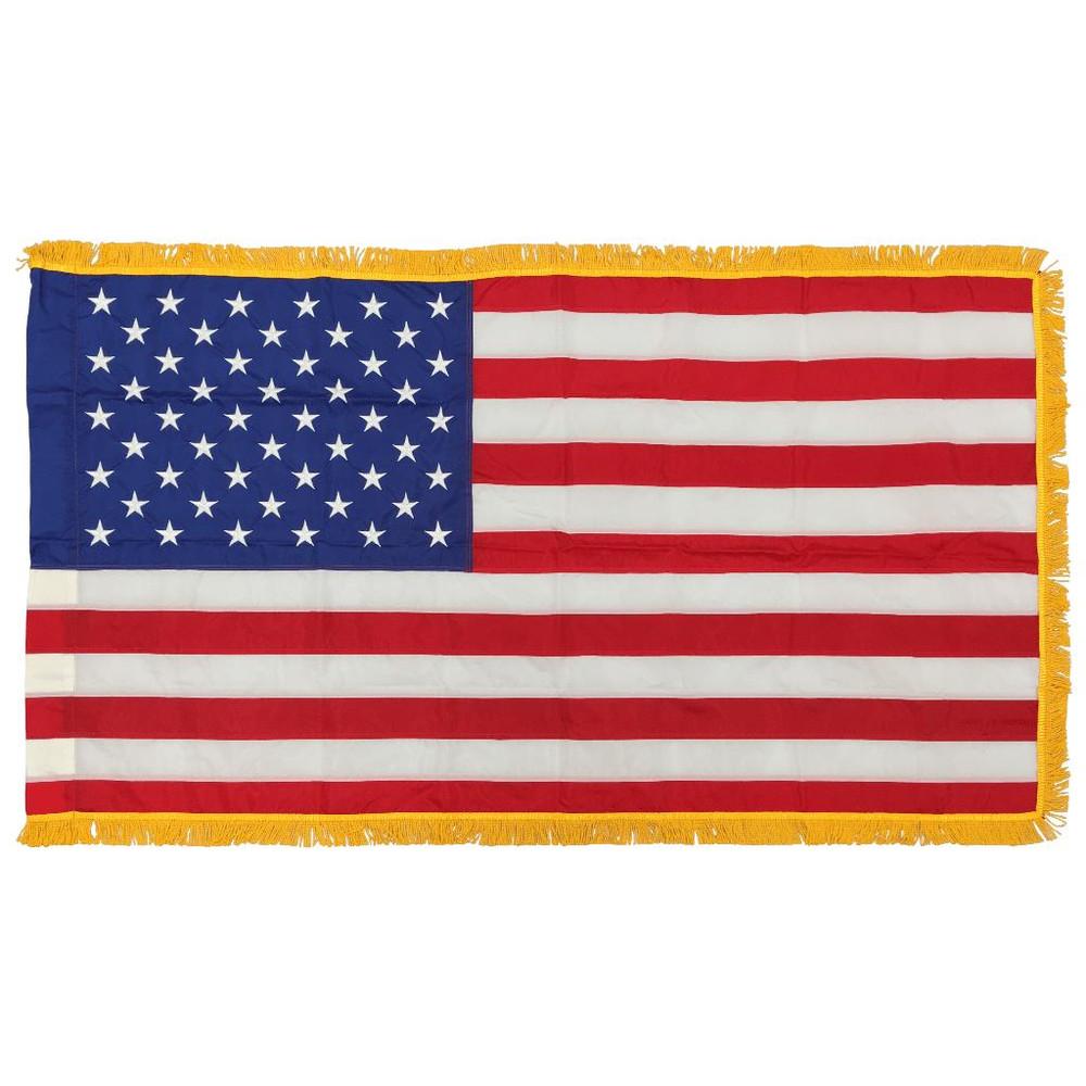 US Flag,  2' x  3'. Nylon, Gold Fringe, Indoor