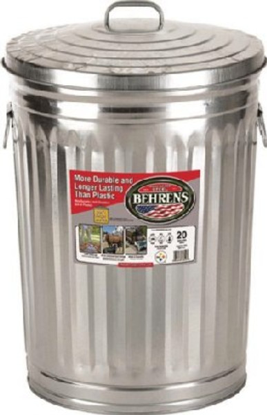 Trash Can, 20 Gallon, Galvanized With Lid