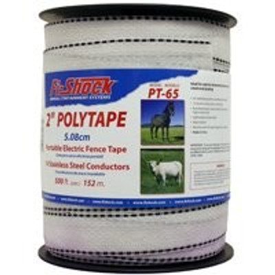 "Electric Fence Polytape, 2"" x 500', White"