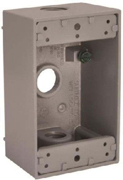 """Outdoor Weatherproof Outlet Box 1 Gang Gray 1/2"""" FPT"""
