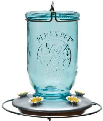 Mason Jar Hummingbird Feeder, 32 Oz Capacity, Blue Glass