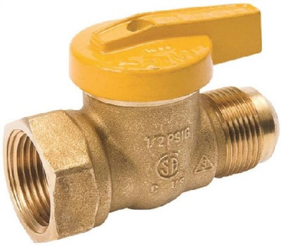 """Gas Ball Valve, 3/4"""" FPT x 5/16"""" Flare, 200 psi, Forged Brass"""
