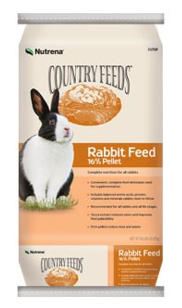 Country Feeds Rabbit Food, 16% Pellet, 50 Lb