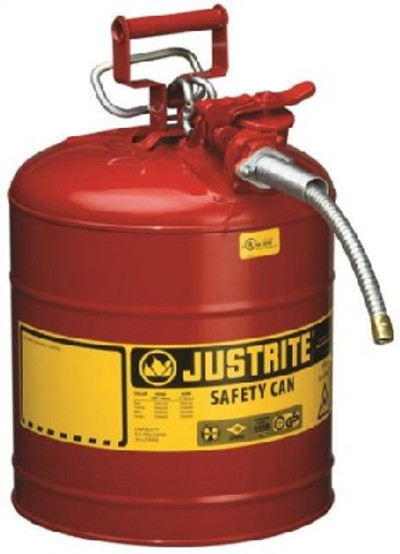Gasoline Safety Can, Type II, 5 Gallon, Self-Venting, Steel, Red