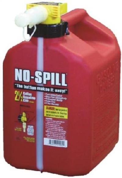 Gas Can, 2.5 gal, 13-1/2 in H, Plastic, Red